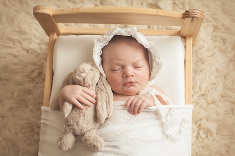 bonnet and bunny newborn photo