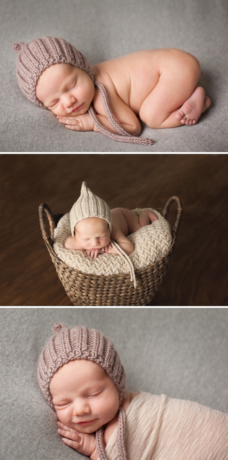 cute newborn photos with babies in baskets