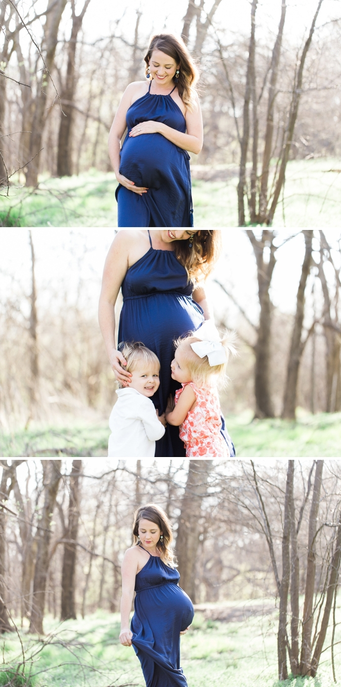 outdoor maternity session with blue maxi dress