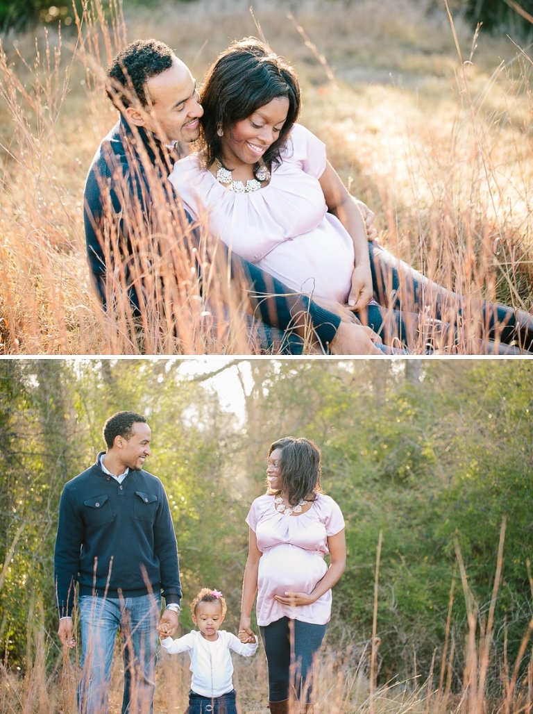 pink maternity session with a toddler outdoors