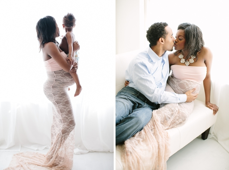maternity session with lace dress