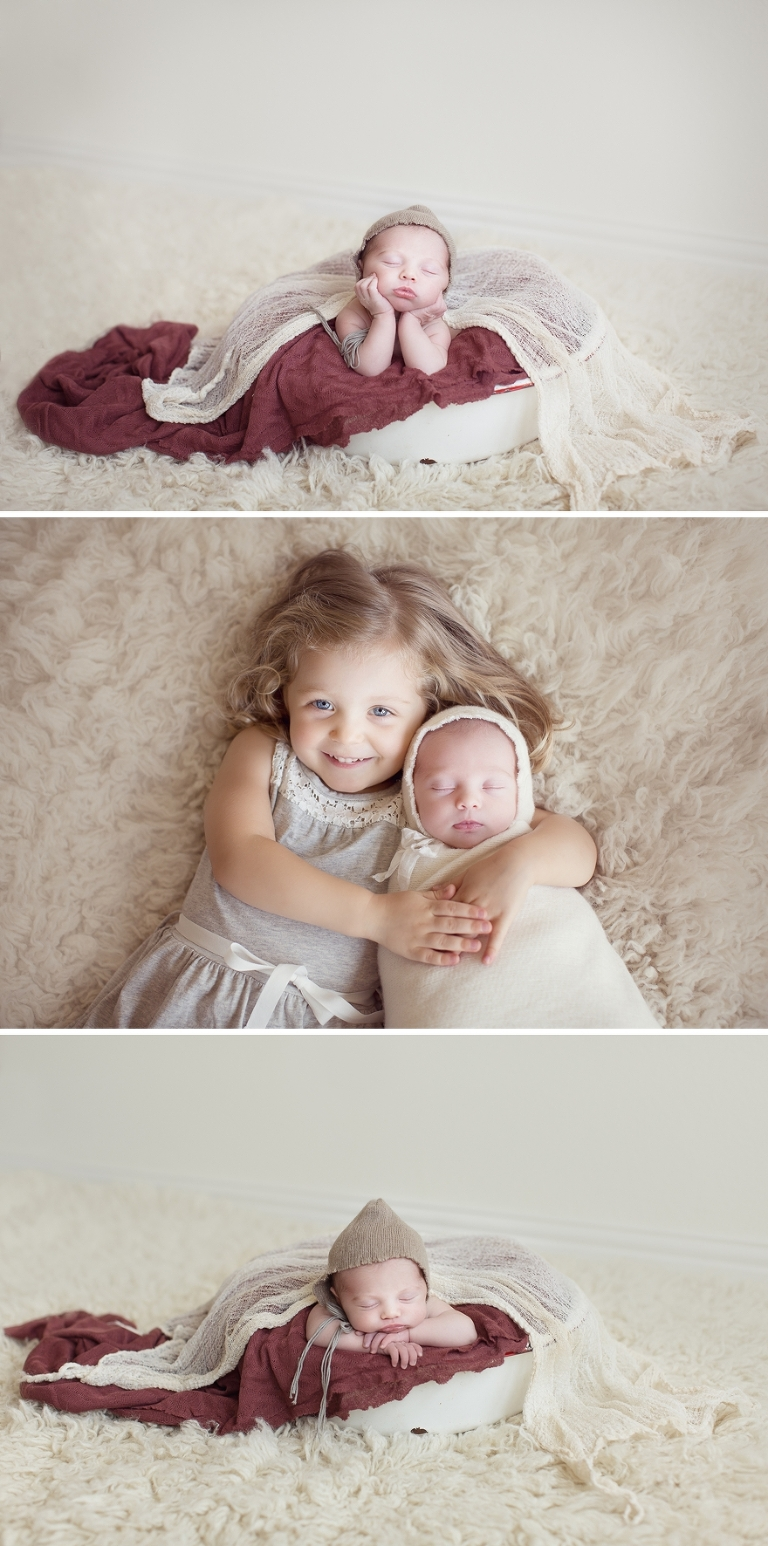 newborn photos with float rugs and props